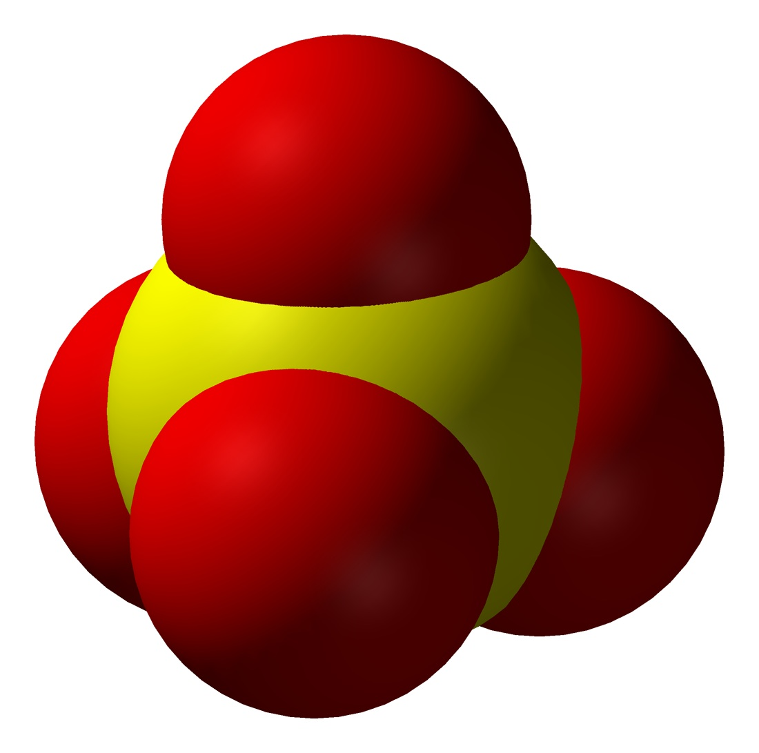 The sulfate anion, SO42−, as a space-filling model.