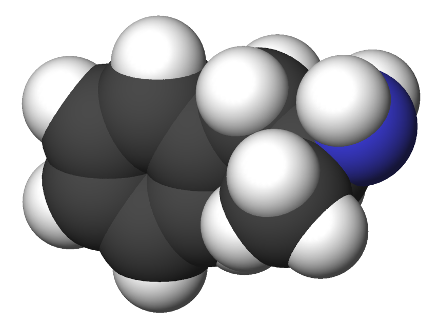 A 3d image of the amphetamine compound