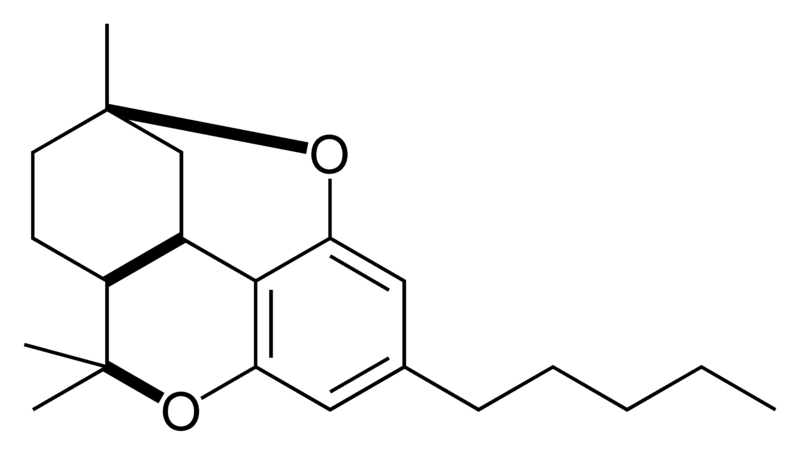 Chemical structure of the CBT-type cyclization of cannabinoids.
