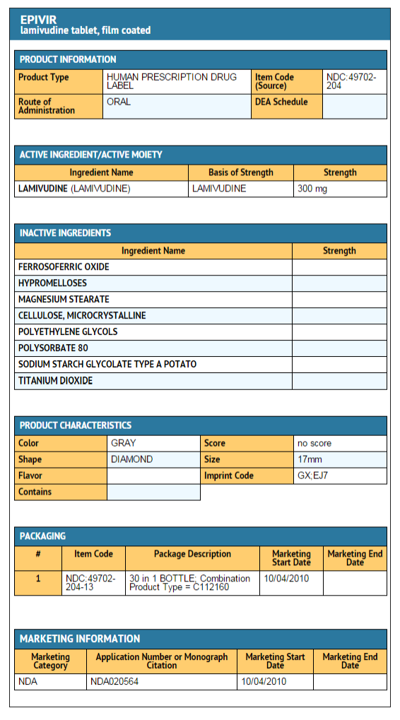 FDA package label Lamivudine tablets 2.png