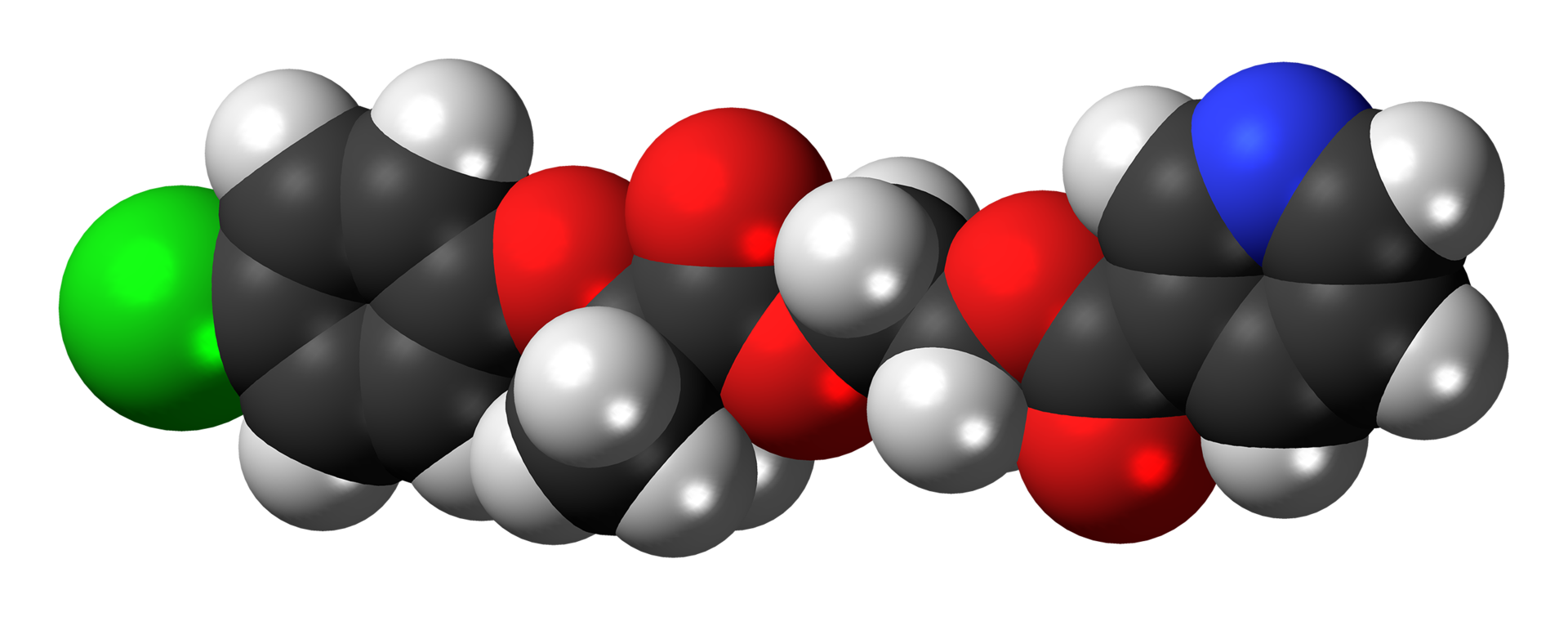 Space-filling model of the etofibrate molecule