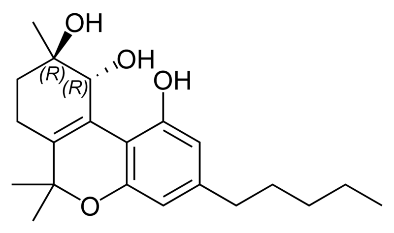 Chemical structure of (-)-trans-cannabitriol.