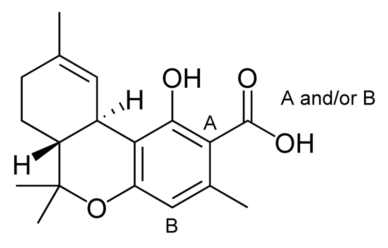 Chemical structure of delta-9-tetrahydrocannabiorcolic acid.