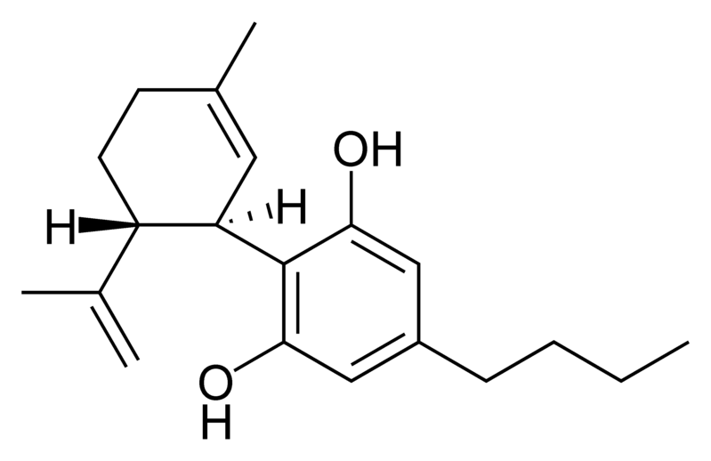 Chemical structure of cannabidiol-C4