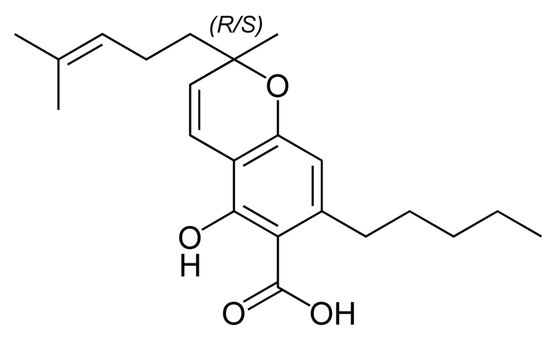 Chemical structure of cannabichromenic acid A.