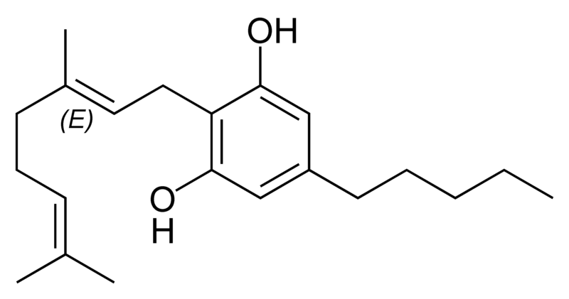 Chemical structure of cannabigerol.