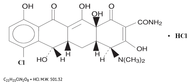 Demeclocycline hydrochloride chemical structure.png