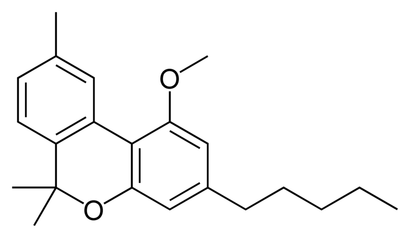 Chemical structure of cannabinol methyl ether.