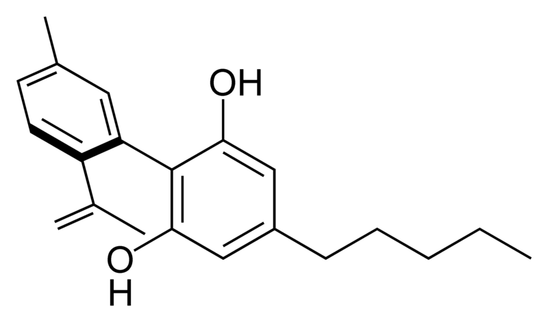 Chemical structure of cannabinodiol.