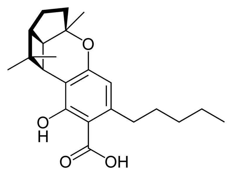 Chemical structure of cannabicyclolic acid A.