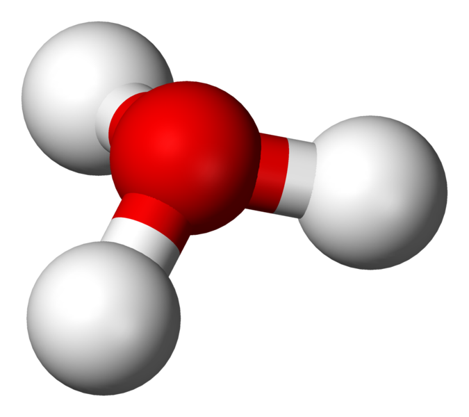 Ball-and-stick model of the hydronium ion