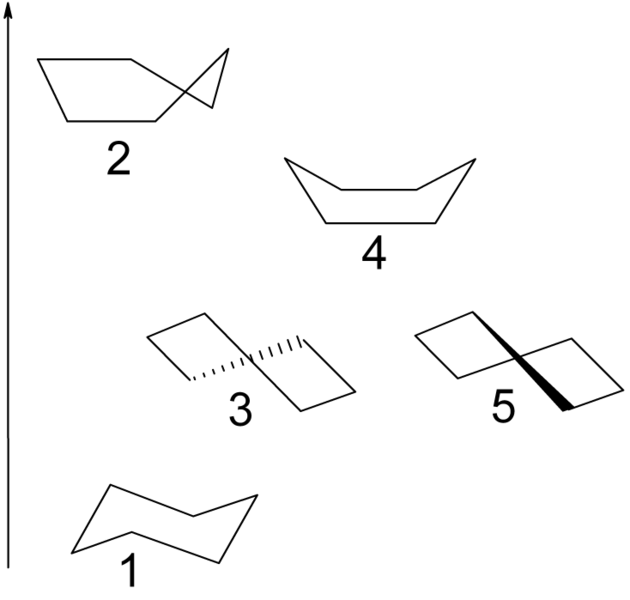 cyclohexane universe: 1 chair, 2 half-chair, 3 twist-boat, 4 boat