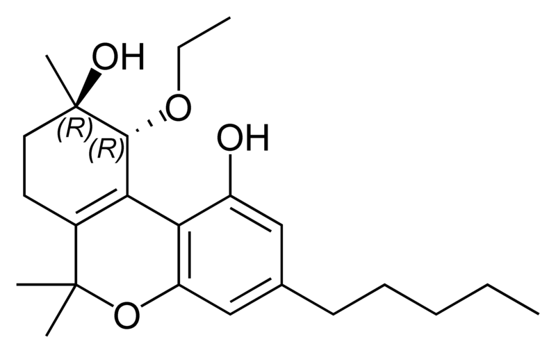 Chemical structure of trans-cannabitriol ethyl ether.