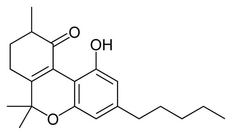 Chemical structure of 10-oxo-delta-6a(10a)-tetrahydrocannabinol.
