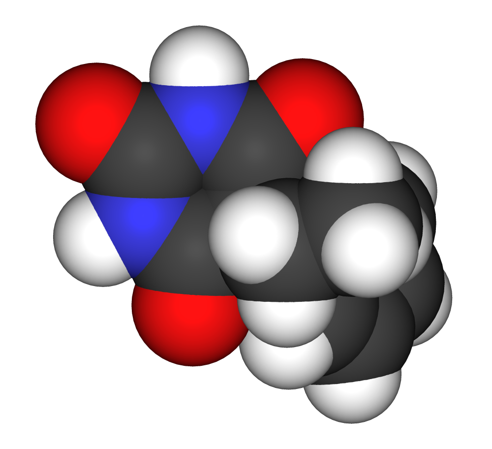 Space-filling model of phenobarbital, the most widely-used anticonvulsant in the world