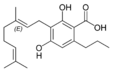 Chemical structure of cannabigerovarinic acid A.