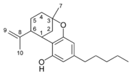 Chemical structure of an iso-CBN-type cannabinoid.