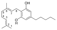 Chemical structure of a CBG-type cannabinoid.