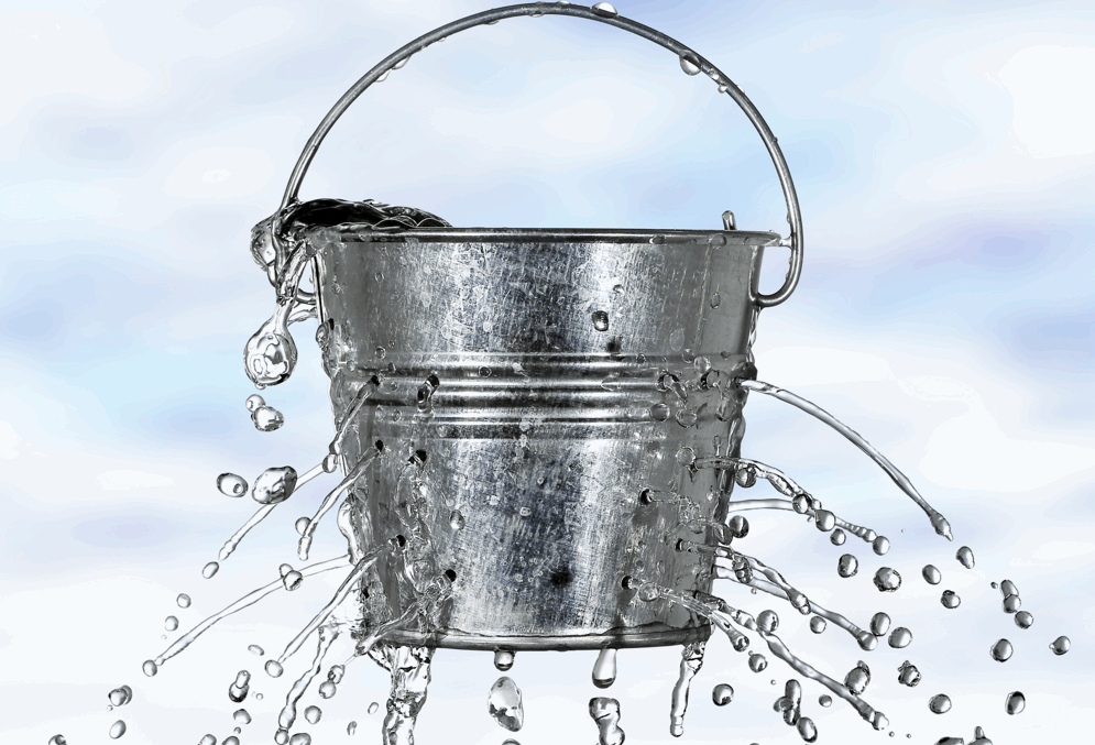 A leaky gut is like a leaky bucket -- not very good at it's job.