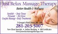 Just Relax Massage Therapy - No Longer in Business