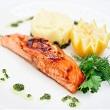Maple-bourbon glazed salmon
