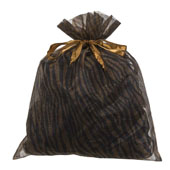 """10""""x 12"""" Organza Zebra Pouch - Sold by 6 Pieces (Individually Packed) (Brown/Black)"""