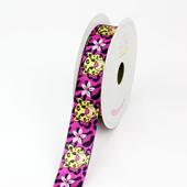 "7/8"" Satin Aloha Leopard Ribbon - 10 Yards (Hot Pink)"