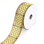 """1 1/2"""" Wired Dippy Dots Ribbon - 10 Yards (Toffee)"""