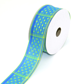 """1 1/2"""" Wired Dippy Dots Ribbon - 10 Yards (Blue)"""