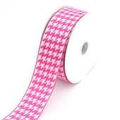 """1 1/2"""" Wired Houndstooth Ribbon - 10 Yards (Hot Pink)"""