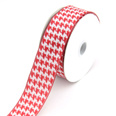 """1 1/2"""" Wired Houndstooth Ribbon - 10 Yards (Red)"""