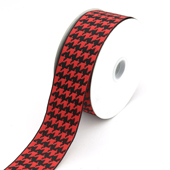 """1 1/2"""" Wired Houndstooth Ribbon - 10 Yards (Red/Black)"""