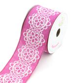 "2 1/2"" Canvas Flowery Lace Print Ribbon -10 Yards  (Fuchsia)"