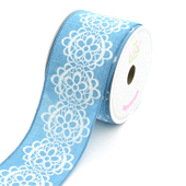 """2 1/2"""" Canvas Flowery Lace Print Ribbon -10 Yards  (Turquoise)"""