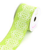"""2 1/2"""" Canvas Flowery Lace Print Ribbon -10 Yards  (Apple Green)"""