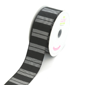 """1 1/2"""" Two Tone Color With Stripes Ribbon - 10 Yards (Black)"""