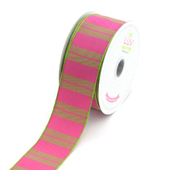 """1 1/2"""" Two Tone Color With Stripes Ribbon - 10 Yards (Hot Pink)"""