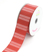 """1 1/2"""" Two Tone Color With Stripes Ribbon - 10 Yards (Red)"""