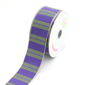 """1 1/2"""" Two Tone Color With Stripes Ribbon - 10 Yards (Purple)"""