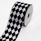"2 1/2"" Polyester Diamond Harlequin Ribbon - 10 Yards (White/Black)"