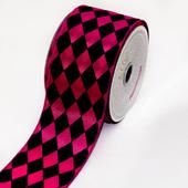 "2 1/2"" Polyester Diamond Harlequin Ribbon - 10 Yards (Hot Pink/Black)"