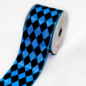 "2 1/2"" Polyester Diamond Harlequin Ribbon - 10 Yards (Turquoise/Black)"