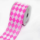 """2 1/2"""" Polyester Diamond Harlequin Ribbon - 10 Yards (Pink/White)"""