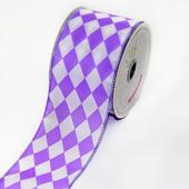 "2 1/2"" Polyester Diamond Harlequin Ribbon - 10 Yards (Purple/White)"