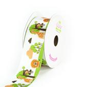 "1 1/2"" Satin Jungle Printed Ribbon - 10 Yards (White)"