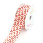 "1 1/2"" Satin Printed Connecting Rings Ribbon - 10 Yards (Red)"