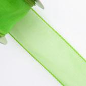 "1 1/2"" Wired Organza Ribbon - 10 Yards (Apple Green)"