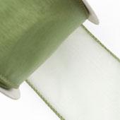 "2 1/2"" Wired Organza Ribbon - 10 Yards (Moss Green)"