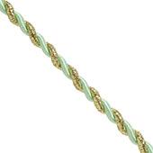6mm 2 Ply Twist Cords - 25 Yards (Mint Green/Gold)