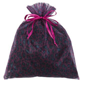 """10"""" x 12"""" Organza Leopard Pouch-Sold by 6 Pieces (Individually Packed) (Fuchsia/Turquoise)"""